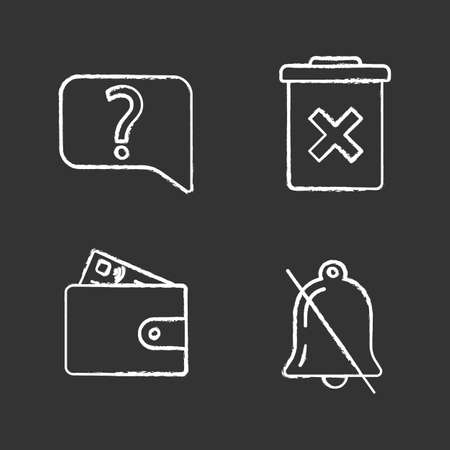UI/UX chalk icons set. Live chat, delete forever, payment, notifications off. Isolated vector chalkboard illustrations Illustration