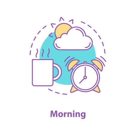 Morning concept icon. Getting up idea thin line illustration. Start of the day. Vector isolated outline drawing