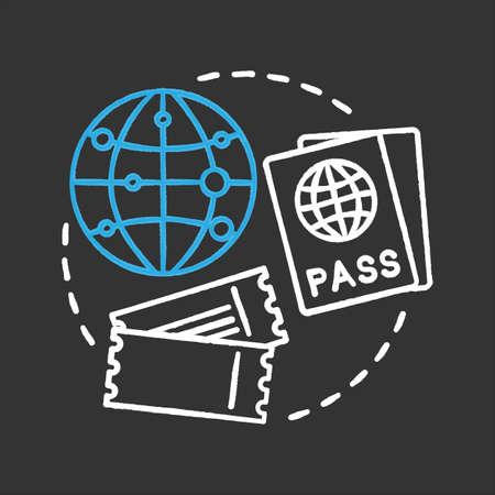 Travel agency chalk concept icon. Tourism. Travel planning idea. International passport, tickets, flight destination. Vector isolated chalkboard illustration