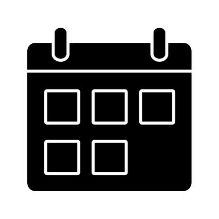 Calendar glyph icon. Date range. Schedule. Silhouette symbol. Negative space. Vector isolated illustration