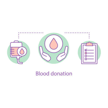 Blood donation concept icon. Volunteering idea thin line illustration. Blood bank. Lifesaving service. Vector isolated outline drawing