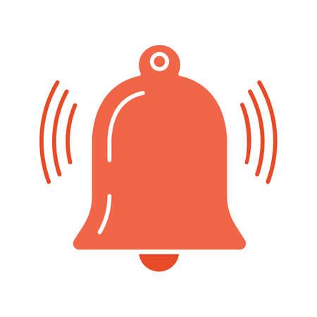 Icône de couleur de glyphe de notification active. Cloche qui sonne. Rappel d'alarme. Symbole de la silhouette sur fond blanc sans contour. Espace négatif. Illustration vectorielle