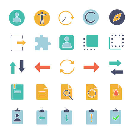 UI/UX glyph color icons set. System elements. Common actions symbols. Silhouette symbols on white background with no outline. Negative space. Vector illustrations