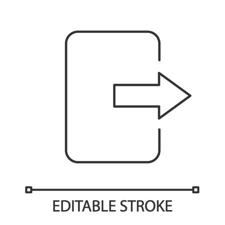 Exit button linear icon. Log out. Thin line illustration. Send file. Contour symbol. Vector isolated outline drawing. Editable stroke