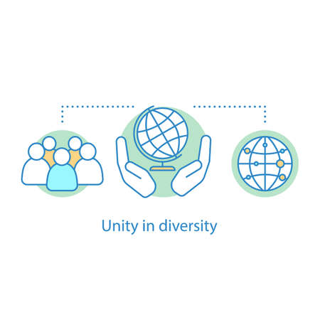 Unity in diversity concept icon. Community idea thin line illustration. Globalization. International relationships. Vector isolated outline drawing