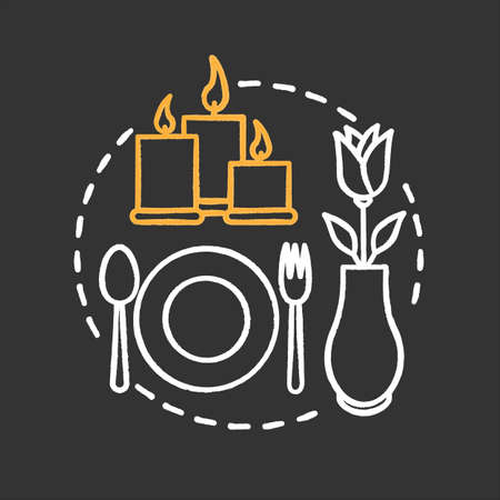 Cafe or restaurant chalk concept icon. Special occasion. First date idea. Romantic supper. Vector isolated chalkboard illustration Ilustração Vetorial