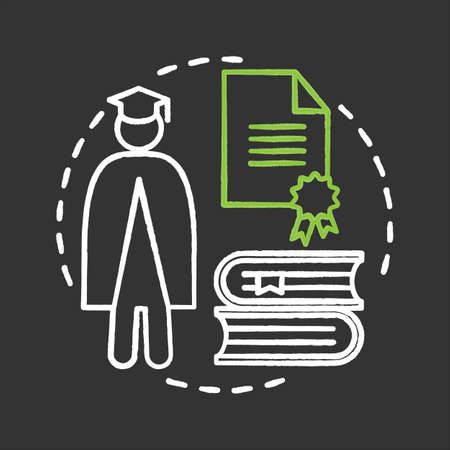 University chalk concept icon. High education idea. Student, diploma, books stack. Vector isolated chalkboard illustration