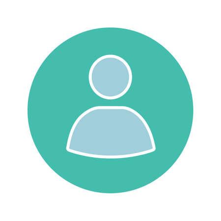 Icône de couleur de glyphe de cercle de compte utilisateur. Photo de profil utilisateur. Userpic. Symbole de la silhouette sur fond blanc sans contour. Espace négatif. Illustration vectorielle