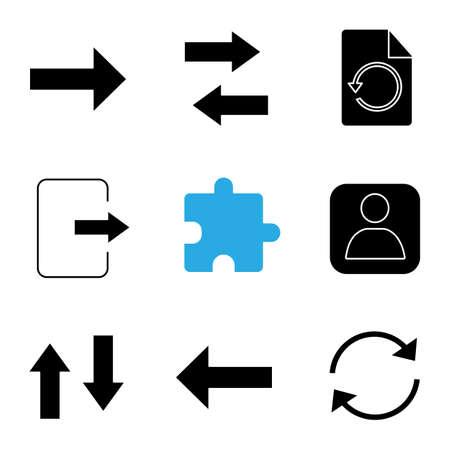 UI / UX glyph-pictogrammen instellen. Vervolgens verticaal en horizontaal wisselen, pagina herstellen, afsluiten, extensie, gebruikersafbeelding, terug, pijl vernieuwen. Silhouet symbolen. Vector geïsoleerde illustratie Vector Illustratie