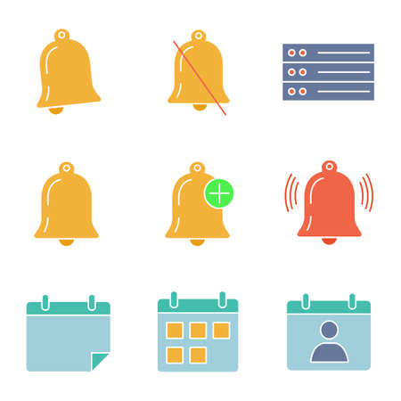 UI/UX glyph color icons set. Notifications modes, list, reminder, alarm, calendar, contact, date range. Silhouette symbols on white background with no outline. Negative space. Vector illustrations