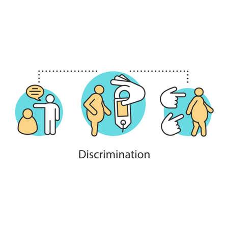 Icono del concepto de discriminación de peso. Obesidad, problema de sobrepeso idea ilustración de línea fina. Sizeism. Dibujo de contorno aislado del vector