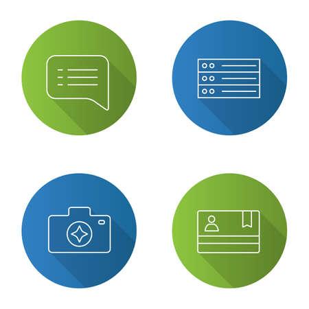 UI/UX flat linear long shadow icons set. Speech bubble, camera enhance, list, membership card. Vector outline illustration