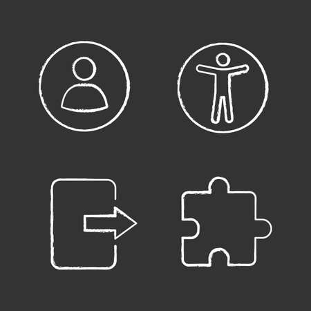 UI/UX chalk icons set. User account, web accessibility, exit button, extension. Isolated vector chalkboard illustrations