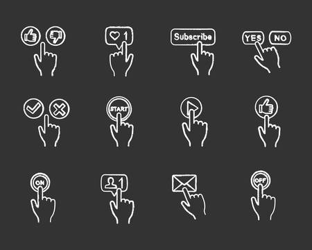 App buttons chalk icons set. Click. Social media interface. Webpage navigation. Isolated vector chalkboard illustrations