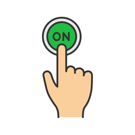Turn on button click color icon. Power. Hand pressing button. Isolated vector illustration