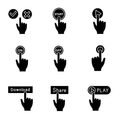 App buttons glyph icons set. Click. Accept and decline, start, play, turn on and off, power, download, share, launch. Silhouette symbols. Vector isolated illustration 向量圖像