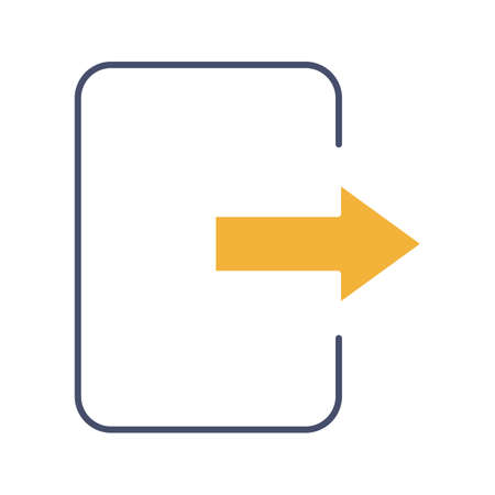 Exit button glyph color icon. Log out. Send file. Silhouette symbol on white background with no outline. Negative space. Vector illustration  イラスト・ベクター素材