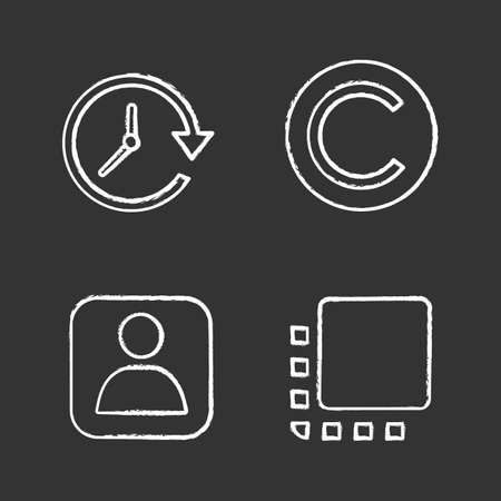 UI/UX chalk icons set. Update, copyright, user account, flip to front button. Isolated vector chalkboard illustrations Illusztráció