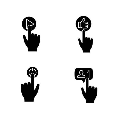 App buttons glyph icons set. Click. Play, like, power, new follower notification. Silhouette symbols. Vector isolated illustration