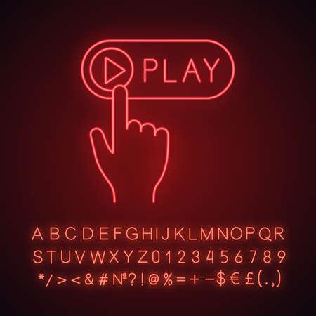 Pulsante di riproduzione fare clic sull'icona della luce al neon. Lettore multimediale. Inizio, lancio. Pulsante di spinta a mano. Segno incandescente con alfabeto, numeri e simboli. Illustrazione vettoriale isolato Vettoriali