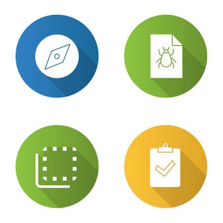 Conjunto de iconos de glifo de larga sombra de diseño plano UI / UX. Herramienta de exploración, informe de errores, botón para voltear hacia atrás, asignación entregada. Ilustración de silueta vectorial