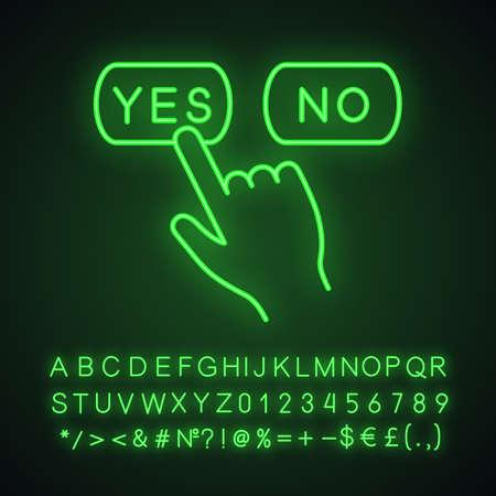 Ja oder nein klicken Sie auf das Neonlicht-Symbol. Schaltflächen zum Annehmen und Ablehnen. Handdrücken der Taste. Leuchtendes Schild mit Alphabet, Zahlen und Symbolen. Isolierte Vektorgrafik