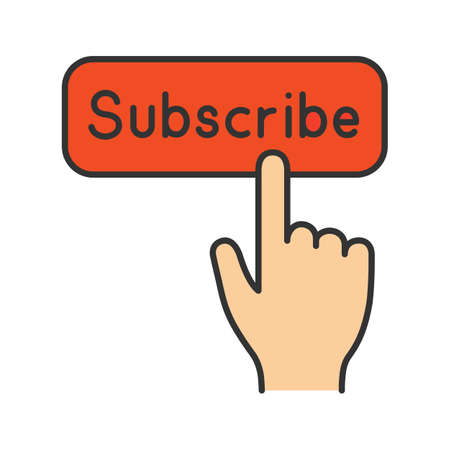 Subscribe button click color icon. Subscription. Social media app. Hand pressing button. Isolated vector illustration