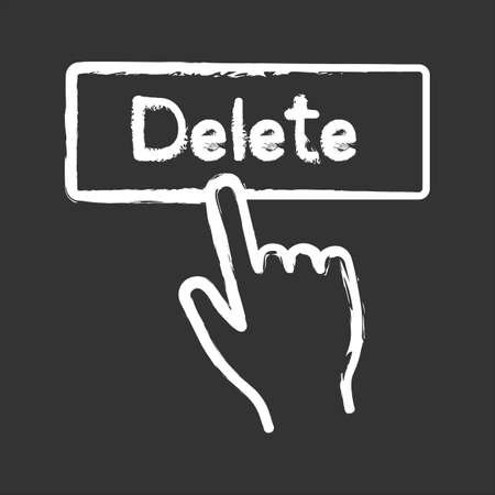 Delete button click chalk icon. Del. Hand pressing button. Isolated vector chalkboard illustrations