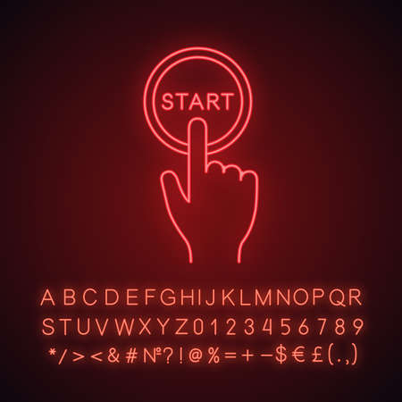 Start button click neon light icon. Launch. Hand pushing button. Glowing sign with alphabet, numbers and symbols. Vector isolated illustration Illustration