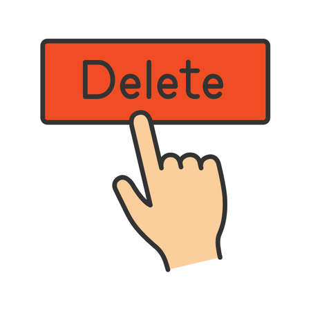 Delete button click color icon. Del. Hand pressing button. Isolated vector illustration