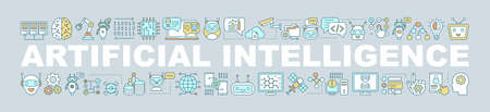 Artificial intelligence word concepts banner. AI. Machine learning. Digital technology. Process automation. Isolated lettering typography idea with linear icons. Vector outline illustration