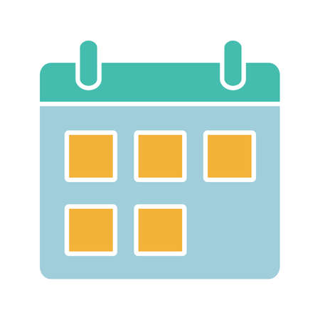 Calendar glyph color icon. Date range. Schedule. Silhouette symbol on white background with no outline. Negative space. Vector illustration Stock Illustratie
