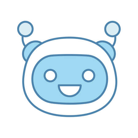 Laughing robot emoji color icon. Happy chatbot smiley with broad smile and open eyes. Chat bot emoticon. Artificial conversational entity. Artificial intelligence. Isolated vector illustration