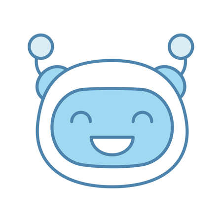 Laughing robot emoji color icon. Happy chatbot smiley with broad smile and closed eyes. Chat bot emoticon. Artificial conversational entity. Artificial intelligence. Isolated vector illustration