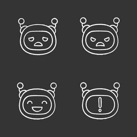 Conjunto de iconos de tiza de emojis de robot. Emoticonos de chatbot. Emoticones de bot de chat tristes, enojados y felices. Notificación de chatbot. Inteligencia artificial. Ilustraciones de pizarra vector aislado