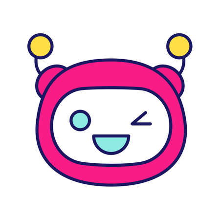 Winking robot emoji color icon. Happy and funny chatbot smiley. Chat bot emoticon.  Artificial conversational entity. Virtual assistant. Artificial intelligence. Isolated vector illustration