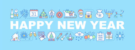 New year word concepts banner. Christmas. Winter holidays. Gifts, decor, treats. Isolated lettering typography idea with linear icons. Vector outline illustration