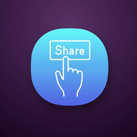 Share button app icon. UI/UX user interface. Social media activity. Hand pressing button. Web or mobile applications. Vector isolated illustration