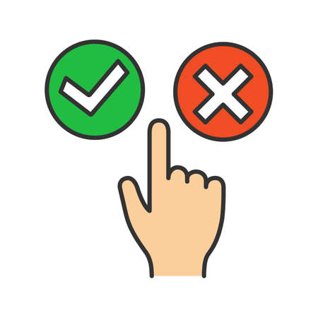 Accept and decline buttons color icon. Yes or no click. Approve and delete. Hand pushing button. Isolated vector illustration