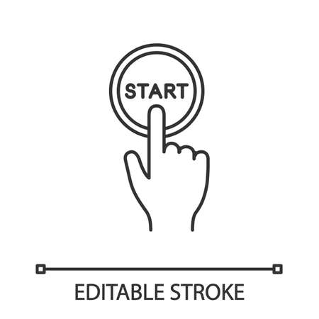 Start button click linear icon. Launch. Hand pushing button. Thin line illustration. Contour symbol. Vector isolated outline drawing. Editable stroke