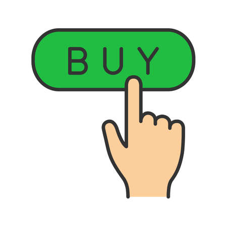 Buy button color icon. Add to cart. Online shopping. Digital purchase. Isolated vector illustration
