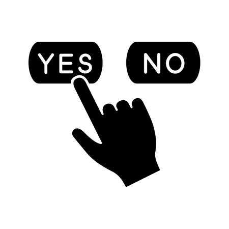 Yes or no click glyph icon. Accept and decline buttons. Hand pressing button. Silhouette symbol. Negative space. Vector isolated illustration Vettoriali