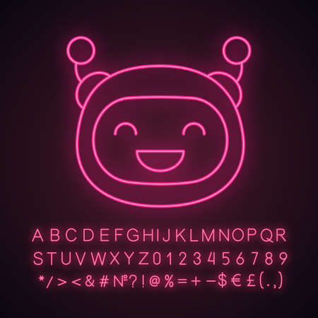 Laughing robot emoji neon light icon. Happy chatbot smiley with broad smile. Chat bot emoticon. Glowing sign with alphabet, numbers and symbols. Vector isolated illustration