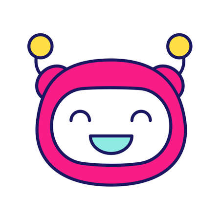 Laughing robot emoji color icon. Happy chatbot smiley with broad smile and closed eyes. Chat bot emoticon. Artificial conversational entity. Virtual assistant. Isolated vector illustration