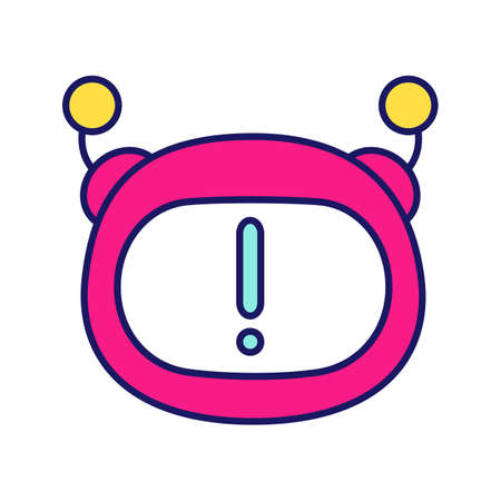 Chatbot notification color icon. Chat bot face with exclamation mark. Important message. Artificial conversational entity. Virtual assistant announcement. Isolated vector illustration