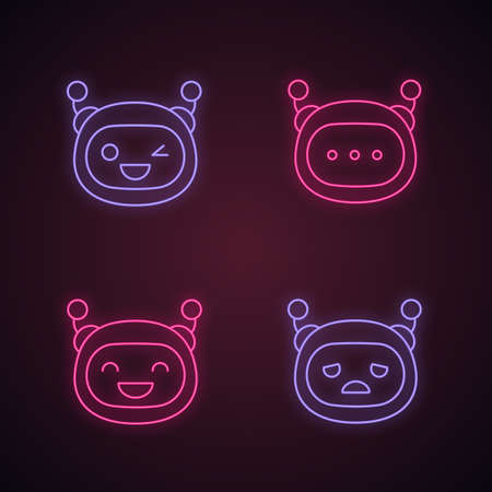 Robot emojis neon light icons set. Chatbot emoticons. Laughing, sad, winky chat bot smileys. Chatbot message. Artificial intelligence. Virtual assistant. Glowing signs. Vector isolated illustrations Ilustracja
