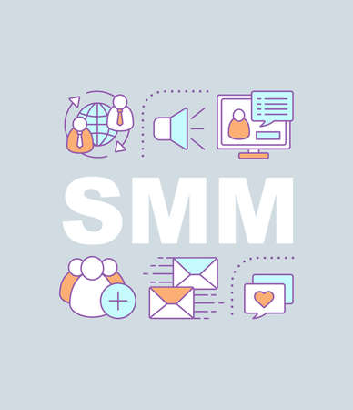 SMM word concepts banner. Social media marketing. Isolated lettering typography idea with linear icons. E-commerce, Internet business. Online communication. Vector outline illustration Vektorové ilustrace