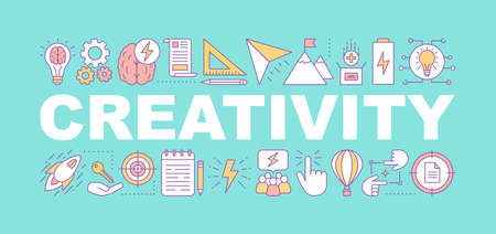 Creativity word concepts banner. Ideas generation. Brainstorm. Isolated lettering typography idea with linear icons. Problem solving. Vector outline illustration Ilustrace
