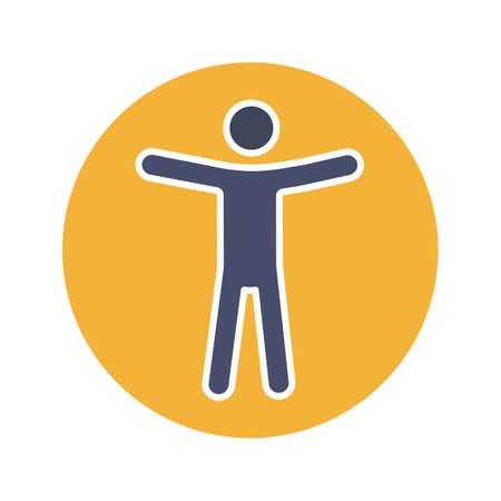 Web toegankelijkheid glyph kleur pictogram. Silhouetsymbool op witte achtergrond zonder omtrek. Universele toegang. Negatieve ruimte. Vector illustratie