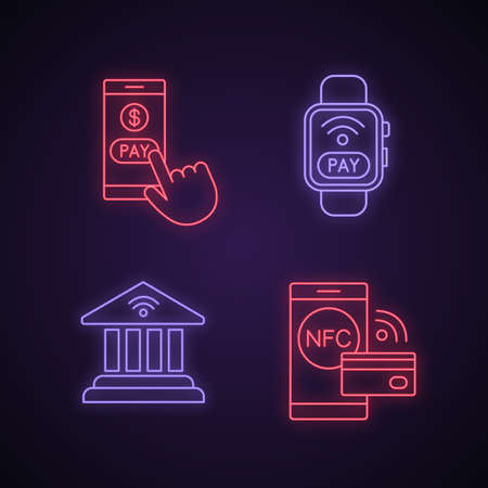 E-payment neon light icons set. Pay with smartphone, NFC smartwatch, online banking, contactless payment. Glowing signs. Vector isolated illustrations